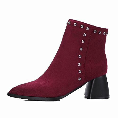 Latasa Womens Studded Pointed Toe Chunky Heels Ankle Suede Boots date red UvRzO