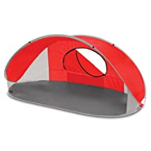 Picnic Time Manta Portable Pop-Up Sun/Wind Shelter, Red