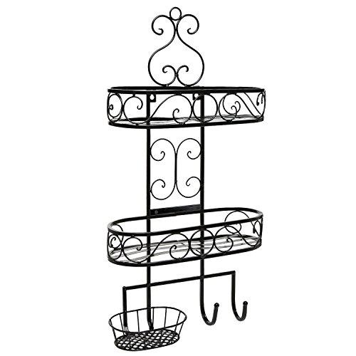 Beautiful 3-Tier Wall Mounted Black Metal Bathroom Organizer / Storage Rack w/ Towel Hooks - MyGift by MyGift