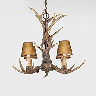 EFFORTINC Vintage Style Resin Antler Chandelier 4 Lights,Living room,Bar,Cafe, Dining room, Bedroom,Study,Villas,American Retro Deer Horn Pendant Lights(with Lampshade)