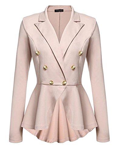 Cekaso Women's Peplum Blazer One Button Crop Frill Ruffle Hem High Low Work Blazer, Khaki, USsize S=Tagsize M ()