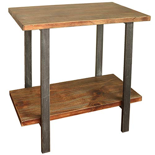 Barnyard Designs 2-Tier End Table - Rustic Solid Pine Wood - Rectangular Side Table Accent 27