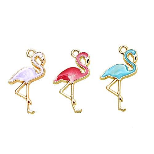 (Monrocco 30Pcs Flamingo Cute Animal Enamel Charms Tropical Bird Theme Charms Pendants Wholesale for DIY Jewelry, 27 x 15mm)