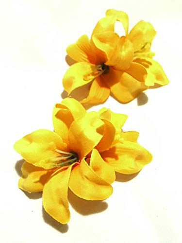 2 Inch Small Yellow Lily Hair Flower Clip