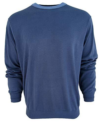 Bobby Chan Men's Crew Neck Silk & Cotton Blend Sweater Mid-Weight (Large, Denim Blue)