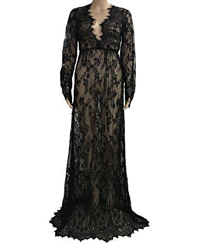Mujer Vestido Largo De Playas Para Verano Del V-Cuello de Manga Larga Boho Vestido De Partido Cover Up túnica Negro