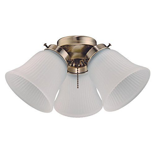 Westinghouse Lighting 7784800 Three LED Cluster Ceiling Fan Light Kit, Antique Brass Finish with Frosted Ribbed Glass, 1 Pack, White ()