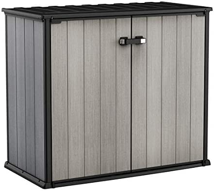 KETER Patio Store 4.6 x 2.5 Foot Resin Outdoor Storage Shed with Paintable and Drillable Walls for Customization-Perfect for Yard Tools and Pool Toys, Grey