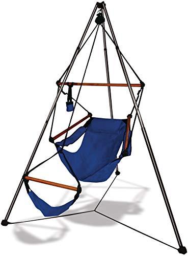 Tripod Stand Hammock Chair Combo Color: Midnight Blue, Dowels: Wood - Hammock Stand Tripod
