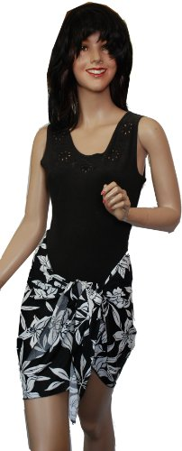Ladies Black & White Floral Print Opaque Swimsuit Sarong Pareo Cover up OS