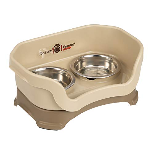 Neater Feeder Deluxe Cat (Cappuccino) - Mess Proof Elevated Bowls, No Tip Non Slip, Stainless Steel Cat Food and Water Dish Stand