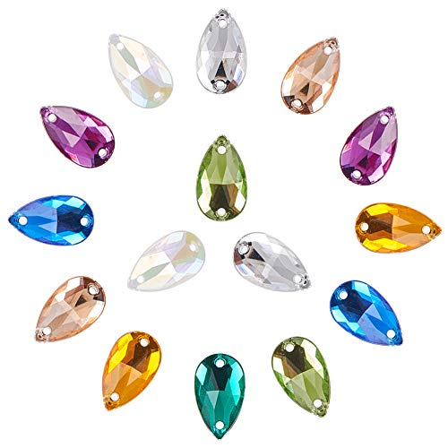 PandaHall Elite 160 Pcs Teardrop Acrylic Sew on Rhinestone Faceted Flatback Crystal Buttons Gems 8 Colors for Clothing Wedding Dress ()