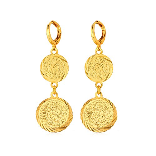 U7 Middle East Arab Muslim Jewelry 18K Gold Plated Allah Heart Drop Earrings (Gold Coin)