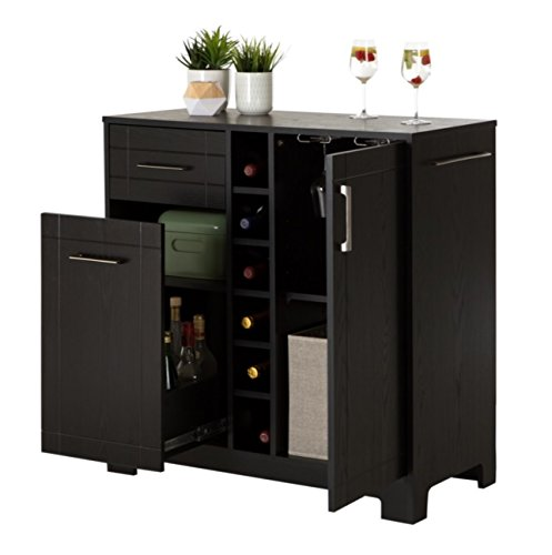 Liquor Storage Cabinet Buffet with Doors Large in Black – Great for Your Favorite Bottles of Wine, Liquors, Glassware and Drinking Accessories - Bundle Includes BONUS Wine Bottle Holder