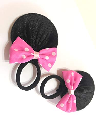 MeeTHan Pink Polka Dot Minnie Mouse Clips Ears Baby Elastic Hair Clips Costume Accessory :M12 (Minnie Band 7 -