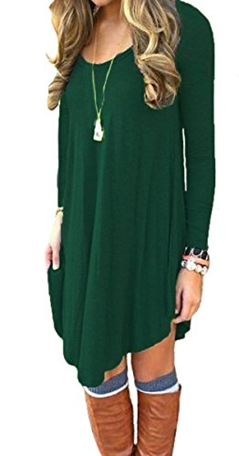 DEARCASE Women's Long Sleeve Swing Loose Flowy Short Casual Tunic Shirt Mini Dress Dark Green XS