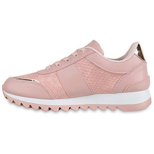 Stiefelparadies Glitzer Damen Laufschuhe Profilsohle Sportschuhe Flats Runners Flandell Rosa Brooklyn