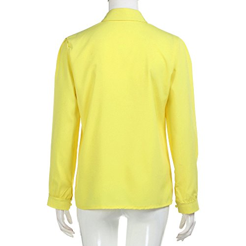en V Fluide Boutonne Tee Jaune Chic Femme Col Chemisier Chemise Casual T Classique Shirt Longues Manches Blouse Sixcup Top O7SCxqdHS