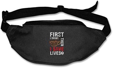 最初にコーヒーを飲み、次に命を救いますユニセックスアウトドアファニーパックバッグベルトバッグスポーツウエストパック
