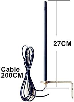 Antena Universal 433.92 MHz para Receptor de Puerta Automática Completa con Soporte Y Cable Blindado con llavero kaser