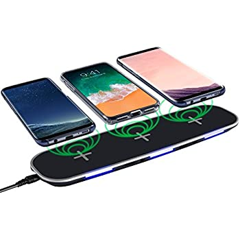 Qi Compatible Wireless Charger, Insten Wireless Charging Pad Charging Hub w/ 3 Slots, 2 USB Ports, Charge Up to 5 Devices for Apple iPhone X/iPhone 8/8 Plus/Samsung Galaxy S8/S7/Note 8, Black
