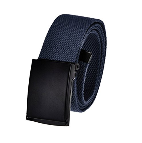 Buckle Navy Military Belt - Men's Cut to Fit Adjustable Belt Waist Size Up to 40