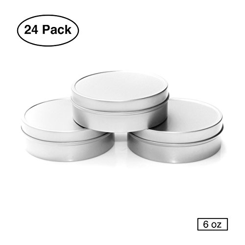 Mimi Pack 6 oz Tin Can Shallow Round Clear Solid Slip Top Lid For Salves, Favors, Spices, Balms, Candles, Gifts 24 Pack (Silver)