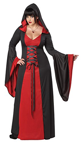 Halloween Costume Vampire Woman (California Costumes Women's Plus-Size Deluxe Hooded Robe Costume, Red/Black, 3XL)