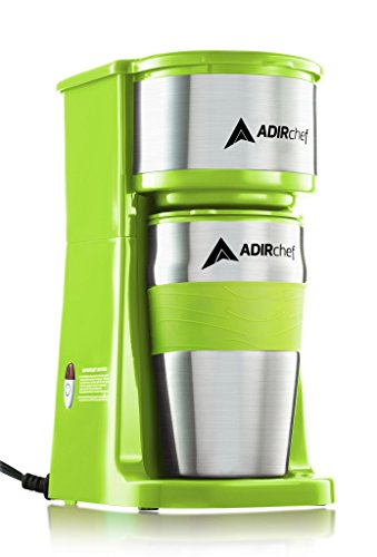 AdirChef Grab N' Go Personal Coffee Maker with 15 oz. Travel Mug (Sour Green) ()