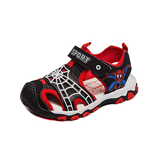 (ROKIDS Kids Baotou Spiderman Sandals Boys Sport Water Beach Shoes 9 Little Kid | Black/Red)