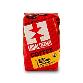 Equal Exchange Organic Coffee, Love Buzz, Whole Beans, 3 - 12 oz Bags 10 TASTE: Favorite Dark and Smoky Blend that has Sweet Velvety Layers of Mola sses, Toasted Marshmallow, Walnut ROAST: Blend of French & Full City Roasts 100% Arabica Coffee Sustainably Grown by Small-Scale Farmer Cooperatives in Latin America, Africa & Asia