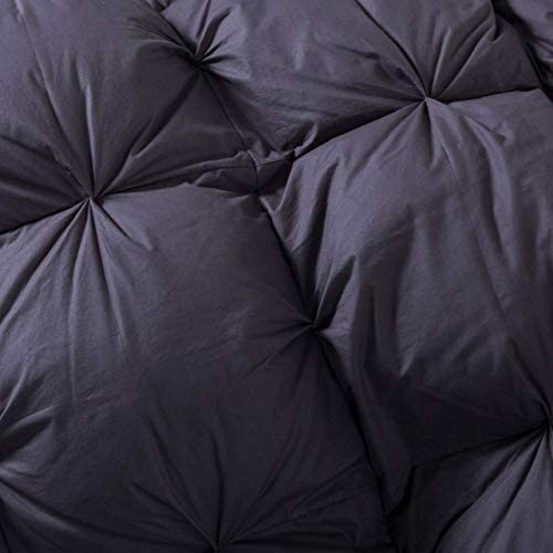 Grandeur Linens Luxurious Goose Down Comforter Duvet Insert, Premium Pinch Pleat Design, 1200 Thread Count 100% Egyptian Cotton, 750+ Fill Power, 50 oz. Fill Weight (Twin, Gray)