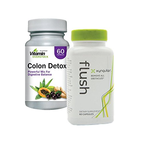 FLUSH & COLON DETOX: Powerful Mix For Digestive Balance, Weight Loss, Cleanse - Max Strength - Xyngular & Vitamin Overstock (30 Day Supply)
