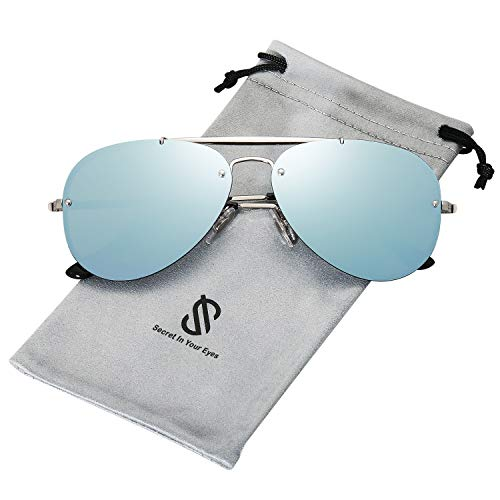 SOJOS Rimless Aviator Sunglasses for Men and Women Metal Frame Mirrored Lens TRENDALERT SJ1105 with Silver Frame/Blue Grey Mirrored ()