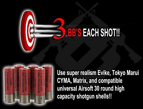 Evike CYMA M3 3-Round Burst Multi-Shot Shell Loading Airsoft Shotgun
