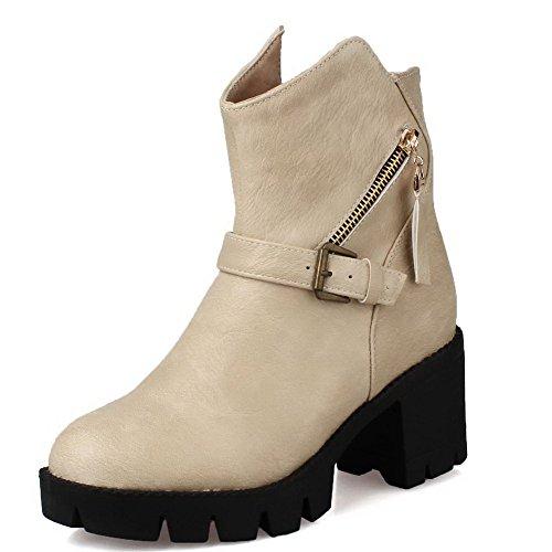 AgooLar Material Heels Metal Soft with Beige Women's Boots Low Kitten Solid Zipper Top AZBFZrWn