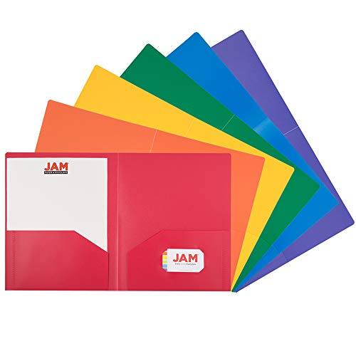 (JAM PAPER Heavy Duty Plastic 2 Pocket School Folders - Assorted Primary Colors - 6/Pack)