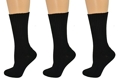 Sierra Socks Womens Organic Cotton Seamless Toe Thick Crew 3 Pair Pack (Fits Shoe Size 4-10 Socks Size 9-11, Black)