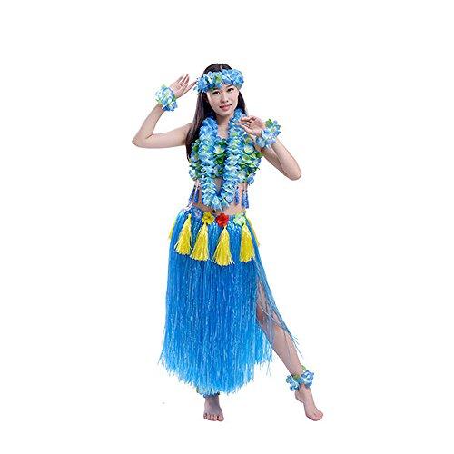 8 Pieces Elastic Hawaiian Hula Costume Set, including Grass Skirt Corset Flower Bracelets Headband Necklace -