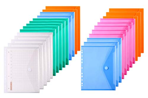 LaOficina 11 Holes Semi Poly Envelope Pocket Insert Pages for Binders, with Hook and Loop Closure Assorted Colors, Letter Size 25 Packs -