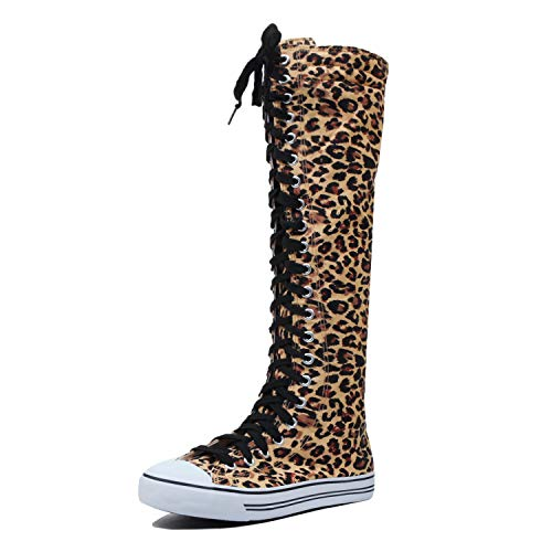 Lace Up Knee wb Blvd Sneaker Boots West High Womens Canvas Leopard qxUaBX46w