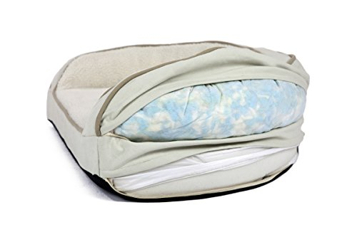 Better World Pets Super Comfort Bolster Dog Bed :: Waterproof Memory Foam Pet Bed with Durable Canvas Cover, Extra Plush Fleece + Foam Bolsters :: 4 Inch Thick, Washable, Small, White Sand by by Better World Pets (Image #9)
