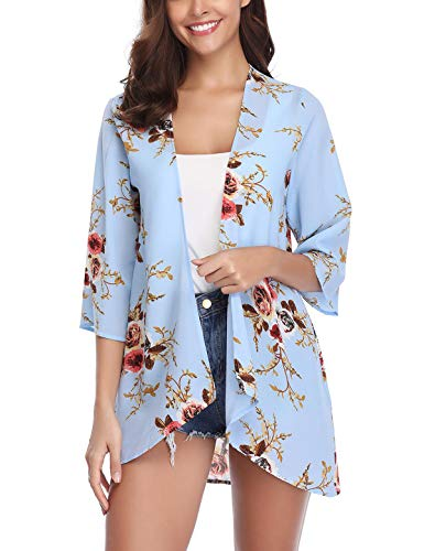 Aibrou Women's Floral Print Puff Sleeve Kimono Cardigan Loose Cover Up Casual Blouse Tops Light - Floral Puff Top Sleeve