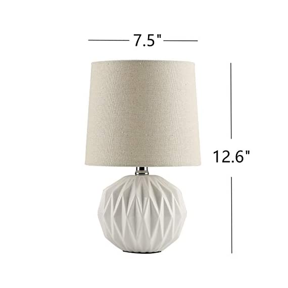 """Tayanuc Small Geometric Ceramic Bedside Nightstand Table Lamp, White Textured Desk Lamp Linen Drum Fabric Shade for… - Ceramic Table Lamp: This white ceramic table lamp shaped like a pineapple takes a fresh twist with textural geometric ceramic body. The solid color allows the plentiful texture and modern silhouette to truly shine and adds a hint of glam to nightstand. Excellent gifts for the coming Thanksgiving Day. Materials: The inimitable desk lamp will turn heads with its smooth textured curves balanced on a white ceramic base. It is paired with beige linen drum fabric shade that casts an ambient glow. Dimensions: 7.5"""" D x 12.6"""" H. - lamps, bedroom-decor, bedroom - 41KLCPxsOZL. SS570  -"""