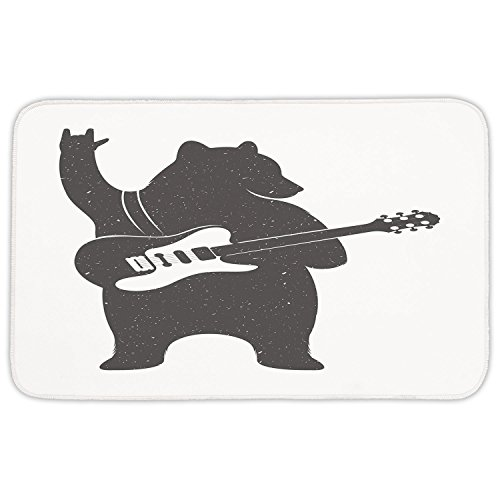 Rectangular Area Rug Mat Rug,Bear,Funny Character Musician with Guitar and Hand Gesture Grunge Effect Retro Rock n Roll Decorative,Black White,Home Decor Mat with Non Slip Backing