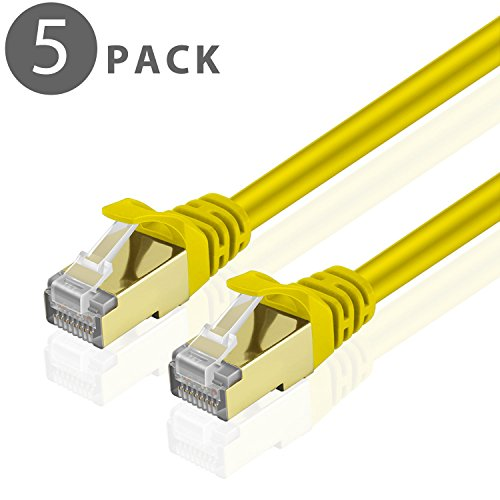 Cat5e Ylw Cbl Quality Computers (TNP Cat6 Ethernet Patch Cable (15 Feet)(5 Pack) - Professional Gold Plated Snagless RJ45 Connector Computer Networking LAN Wire Cord Plug Premium Shielded Twisted Pair (Yellow))