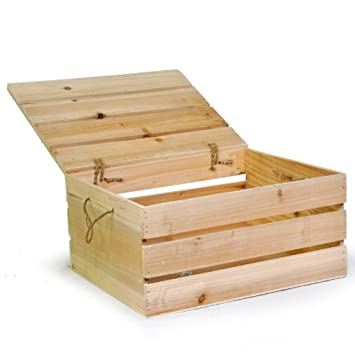 The Lucky Clover Trading Wood Crate Storage Box with Swing Lid