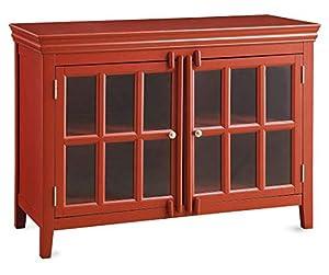 New Shilpi Handicrafts Teak Wood Cabinet/Storage Cabinet with Deco Finish/Red