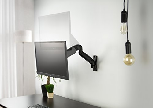 VIVO Black Height Adjustable Gas Spring Extended Arm Single Monitor Wall Mount Full Motion Articulating   fits 17'' to 27'' Screens (MOUNT-V001G) by VIVO (Image #3)'