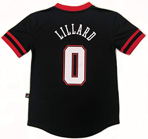 Outerstuff NBA Boys Youth 8-20 Short Sleeve Player Name & Number Performance Jersey (Youth X-Large 18-20, Damian Lillard Portland Trail Blazers)